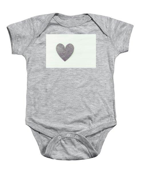 Minimalistic Silver Glitter Heart Baby Onesie