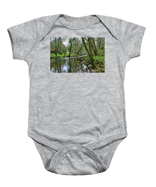 Misty Day On River Teign - P4a16017 Baby Onesie