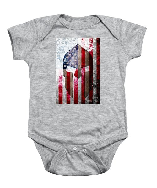 Molon Labe - Spartan Helmet Across An American Flag On Distressed Metal Sheet Baby Onesie