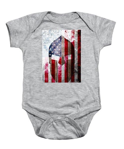 Molon Labe - Spartan Helmet Across An American Flag On Distressed Metal Sheet Baby Onesie