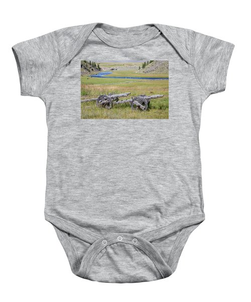 Baby Onesie featuring the photograph Mongolian Ox Carts by Hitendra SINKAR