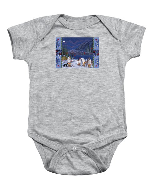 Baby Onesie featuring the painting Moon When The Rivers Dream by Chholing Taha