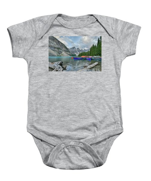 Moraine Logs And Canoes Baby Onesie