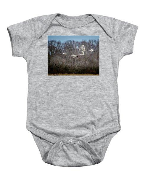 Morning Flight Of Tundra Swan Baby Onesie