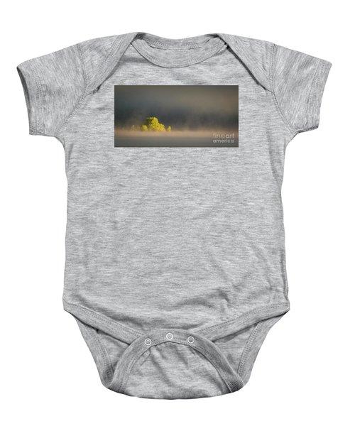 Morning Fog On Jackson Lake Grand Teton National Park  Baby Onesie