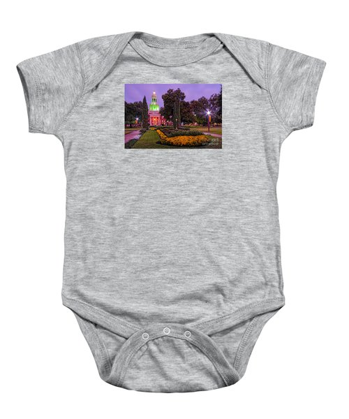 Morning Twilight Shot Of Pat Neff Hall From Founders Mall At Baylor University - Waco Central Texas Baby Onesie