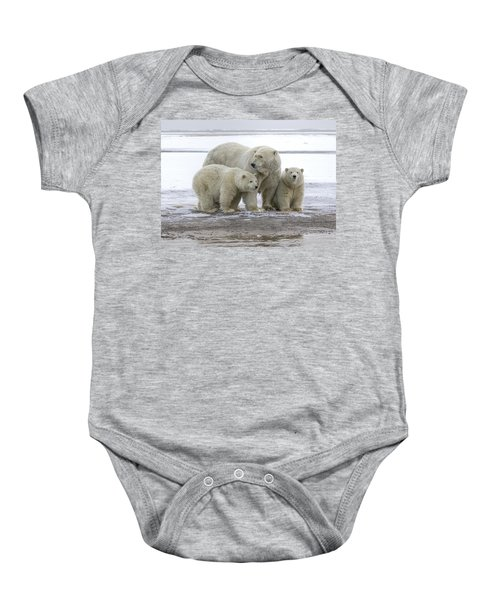 Mother And Cubs In The Arctic Baby Onesie