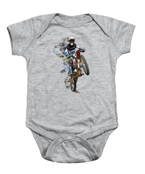 Motocross Rider With Flying Pieces Baby Onesie