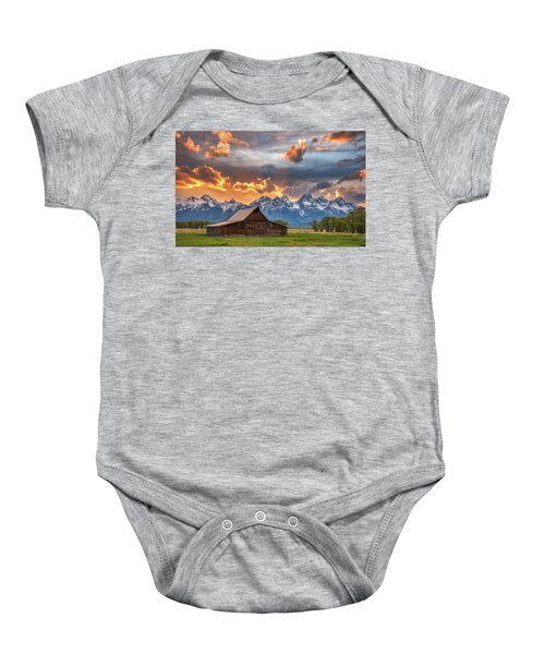 Moulton Barn Sunset Fire Baby Onesie