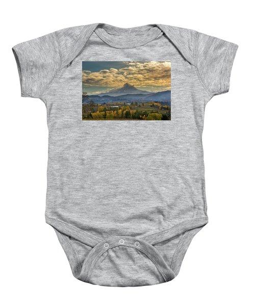 Mount Hood Over Farmland In Hood River In Fall Baby Onesie