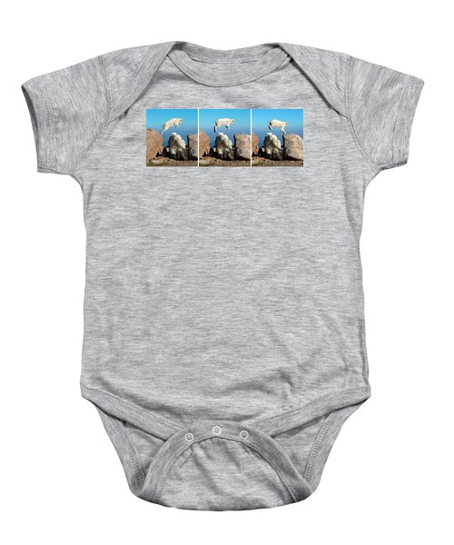 Mountain Goat Leap-frog Triptych Baby Onesie