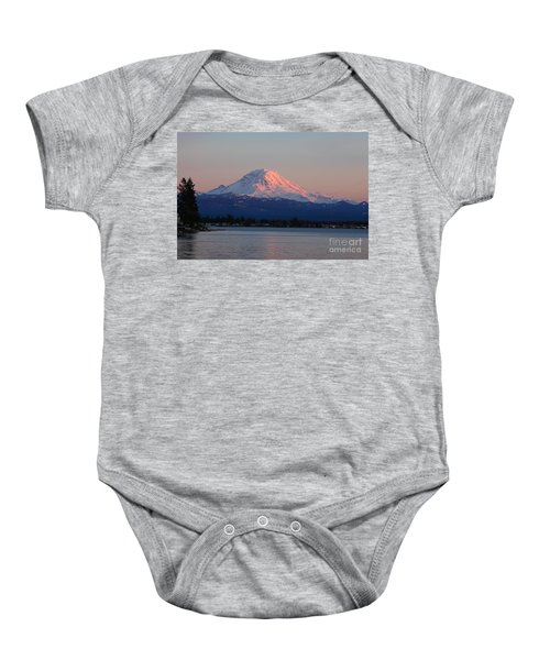Baby Onesie featuring the photograph Mt Rainier Sunset by Peter Simmons