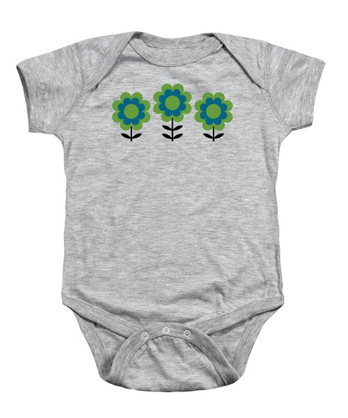Mug Design With Happy Flowers Blue And Green Baby Onesie