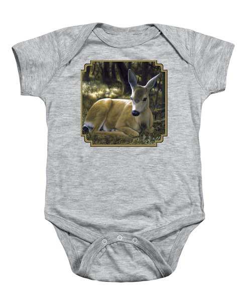 Mule Deer Fawn - A Quiet Place Baby Onesie by Crista Forest