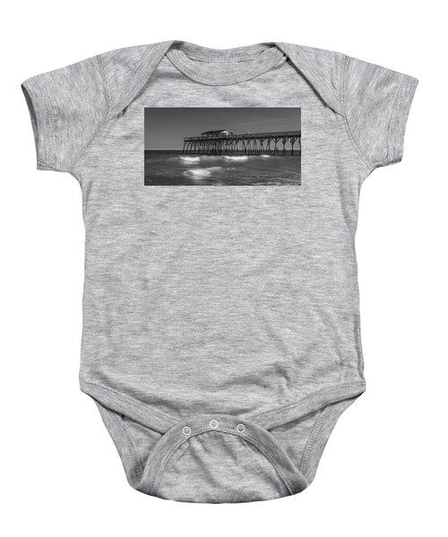 Myrtle Beach Pier Panorama In Black And White Baby Onesie