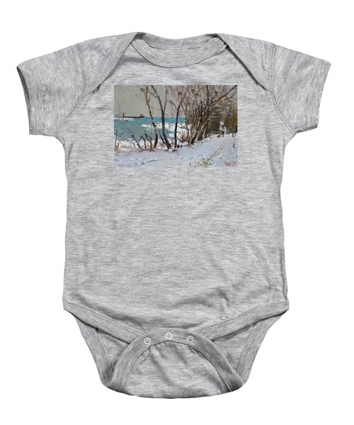 Naked Trees By The Lake Shore Baby Onesie