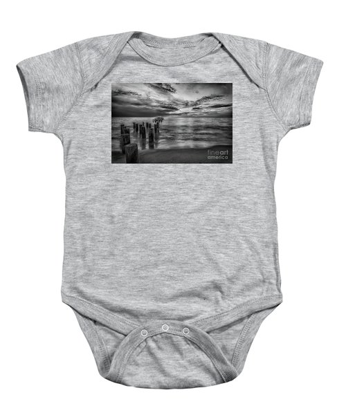 Naples Sunset In Black And White Baby Onesie