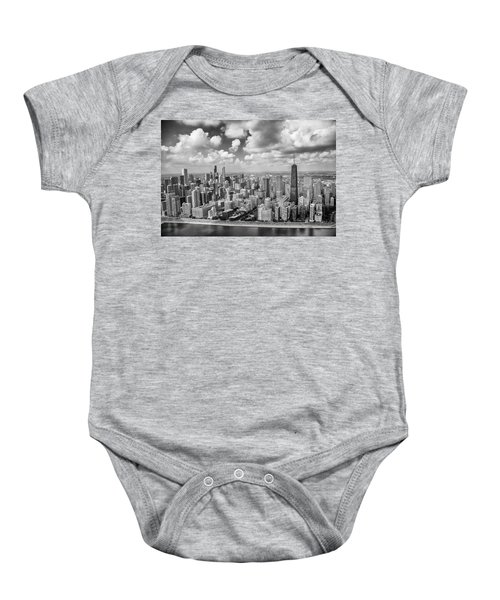 Near North Side And Gold Coast Black And White Baby Onesie by Adam Romanowicz