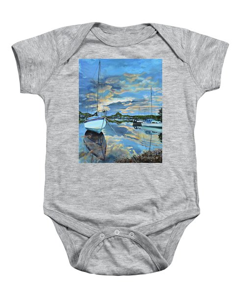 Nestled In For The Night At Mylor Bridge - Cornwall Uk - Sailboat  Baby Onesie