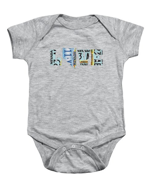 Nevada State Love License Plate Art Phrase Baby Onesie