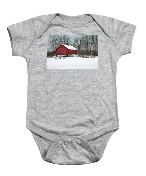 New England Colonial Home In Winter Baby Onesie