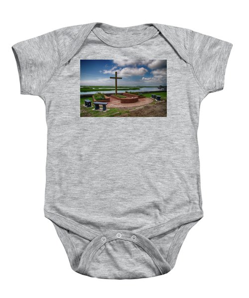 Baby Onesie featuring the photograph New Garden Cross At Belin Umc by Bill Barber