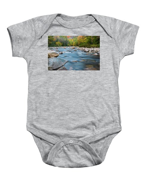 New Hampshire Swift River And Fall Foliage In Autumn Baby Onesie