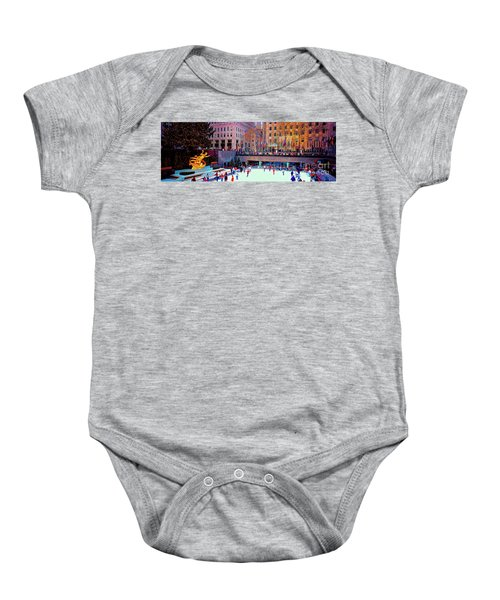 New York City Rockefeller Center Ice Rink  Baby Onesie