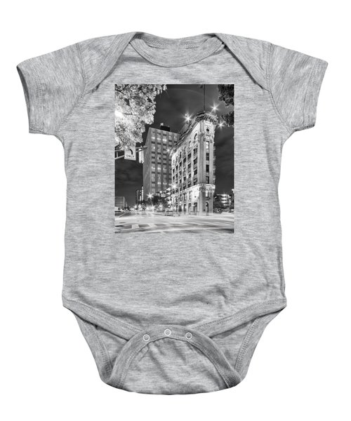 Night Photograph Of The Flatiron Or Saunders Triangle Building - Downtown Fort Worth - Texas Baby Onesie