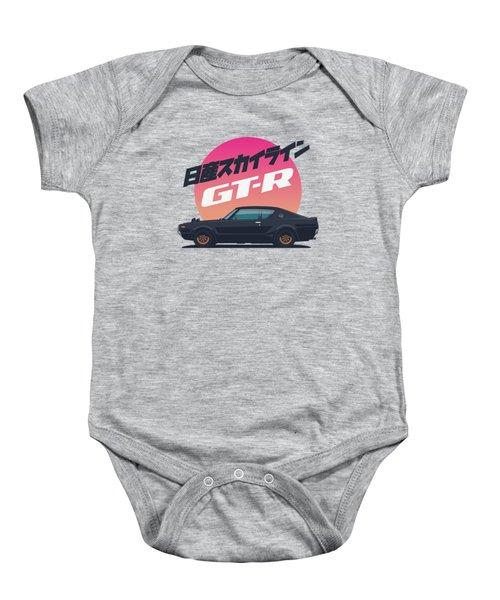 Nissan Skyline Gt-r C110 Side - Vert Black Baby Onesie