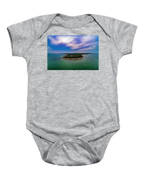 Nobska Lighthouse Panorama Baby Onesie