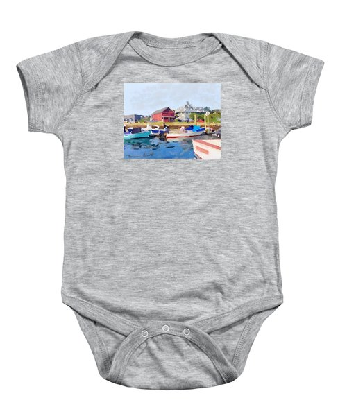 North Shore Art Association At Pirates Lane On Reed's Wharf From Beacon Marine Basin Baby Onesie by Melissa Abbott