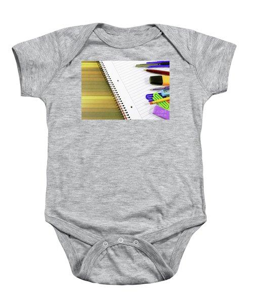 Notebook And School Supplies Baby Onesie