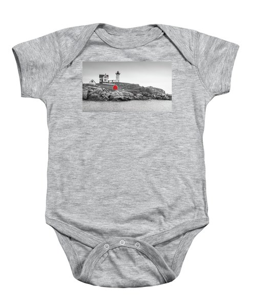 Nubble Lighthouse In Color And Black And White Baby Onesie