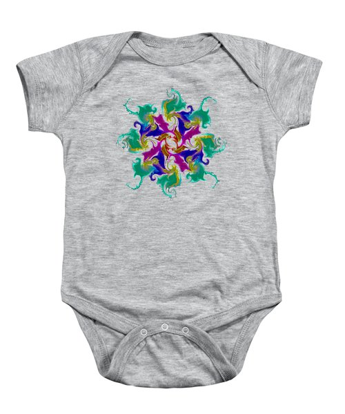 11011 Octal Curlicues 002 With Grey 5 Background Baby Onesie