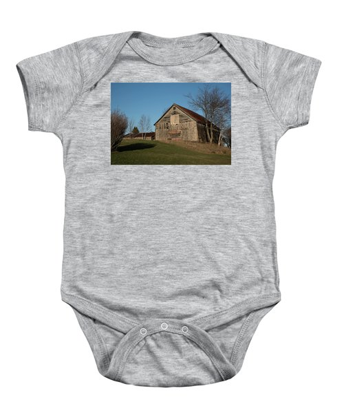 Old Barn On A Hill Baby Onesie