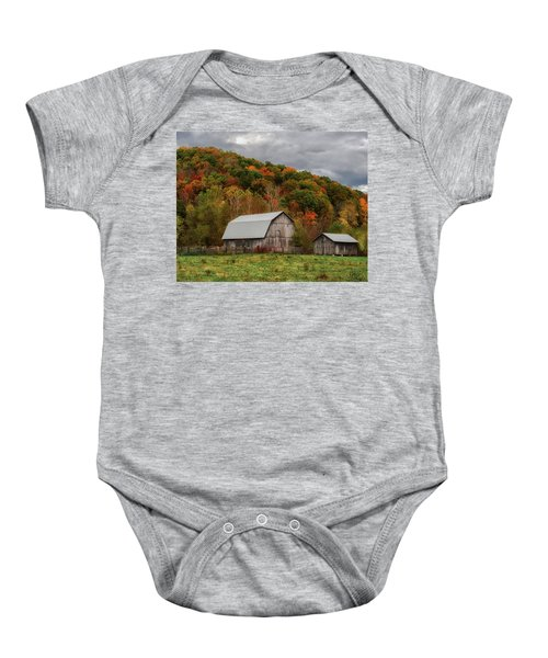 Old Barns Of Beauty In Ohio  Baby Onesie