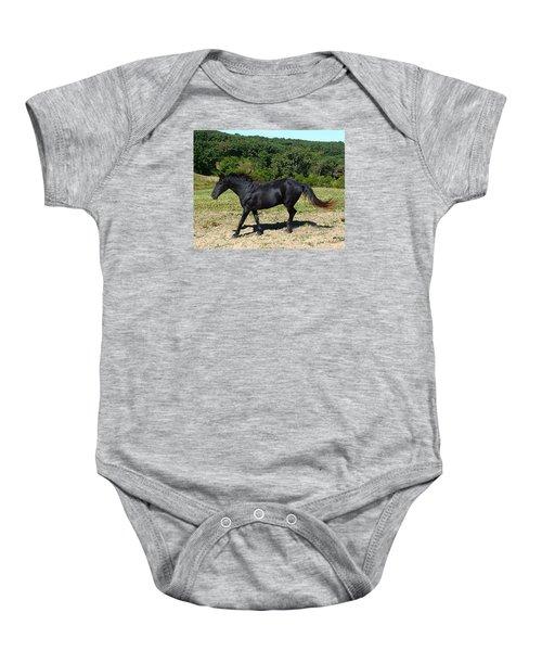 Old Black Horse Running Baby Onesie