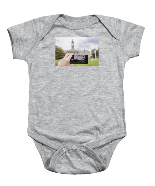 Old Main Through Iphone  Baby Onesie by John McGraw