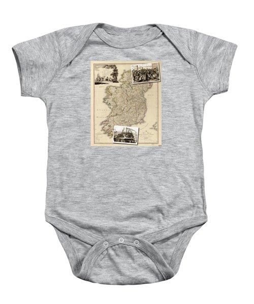 Vintage Map Of Ireland With Old Irish Woodcuts Baby Onesie