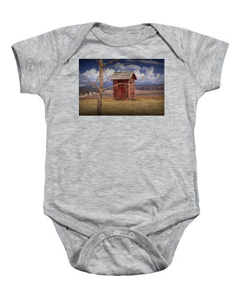 Old Rustic Wooden Outhouse In West Michigan Baby Onesie