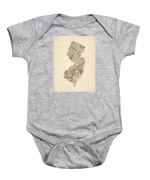 Old Sheet Music Map Of New Jersey Baby Onesie