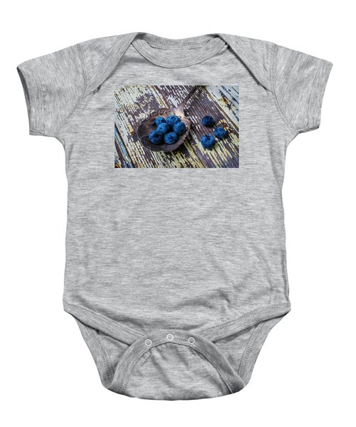 Old Spoon And Blueberries Baby Onesie