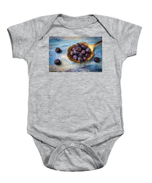 Old Spoon Full Of Blueberries Baby Onesie