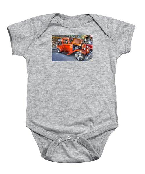 Old Timer Orange Truck Baby Onesie