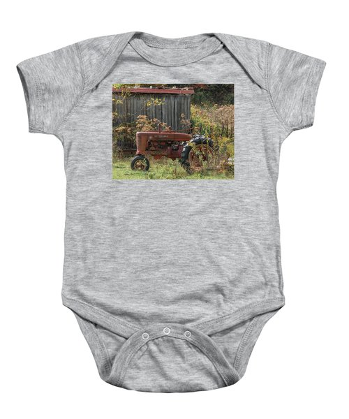 Old Tractor On The Farm. Baby Onesie