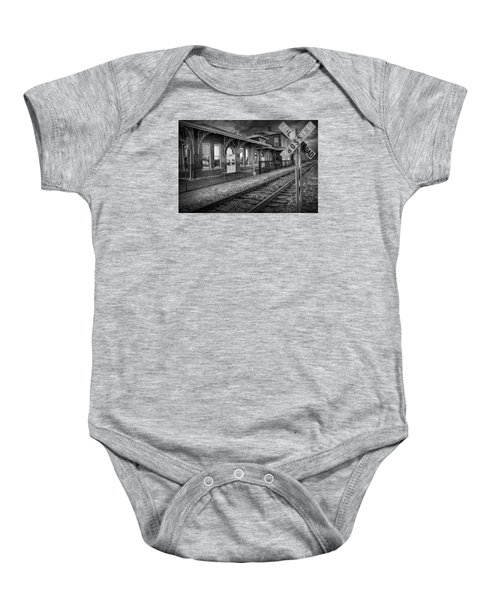 Old Train Station With Crossing Sign In Black And White Baby Onesie