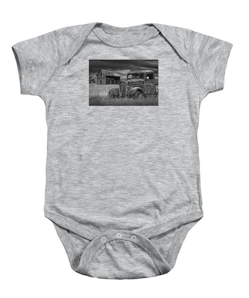 Old Vintage Pickup In Black And White By An Abandoned Farm House Baby Onesie