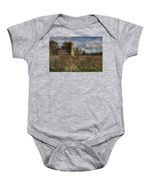 0034 - Old Wooden Barn And Silo Baby Onesie