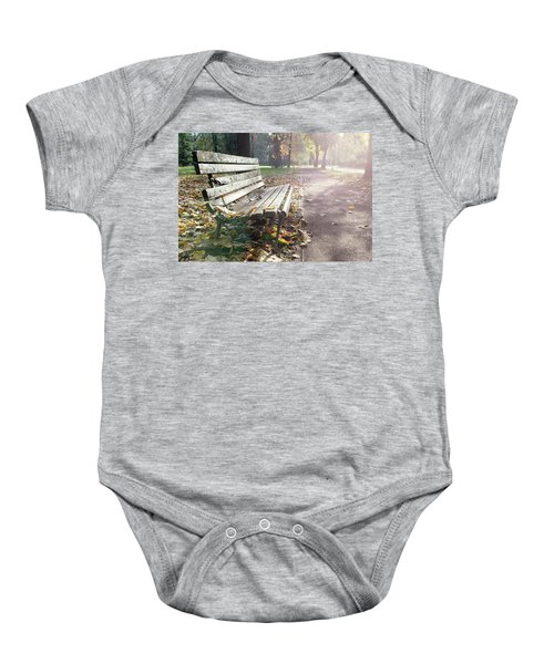 Rustic Wooden Bench During Late Autumn Season On Bright Day Baby Onesie